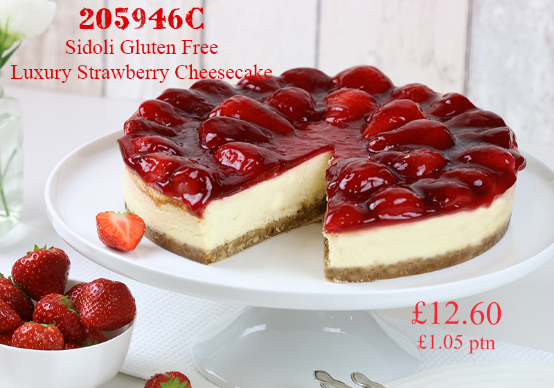 Pioneer Foodservice | Sidoli Gluten Free luxury strawberry cheesecake