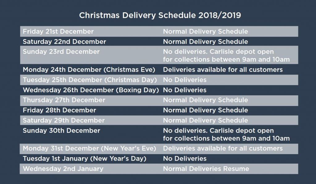 Pioneer Foodservice | Christmas 2018 delivery schedule | Carlisle, Cumbria